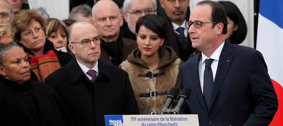 Phoot du président de la République le 27 janvier 2015 à l'occasion de la commémoration du 70ème anniversaire de la libération d'Auschwitz.