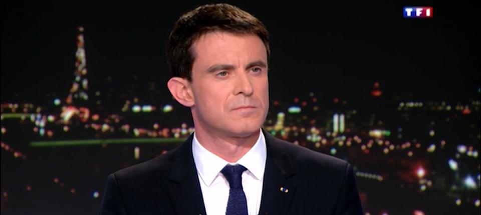 Manuel Valls sur le plateau du JT de TF1 le 17 février 2015.