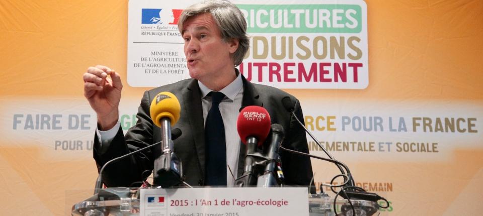 Photo de Stéphane Le Foll lors de sa conférence de presse pour l'an 1 de l'agro-écologie en France