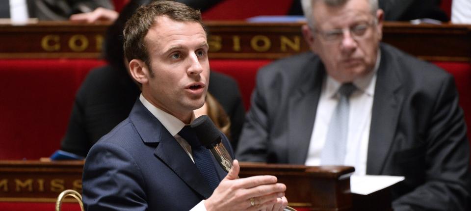 Photo d'Emmanuel Macron à l'Assemblée nationale le 27 janvier 2015.