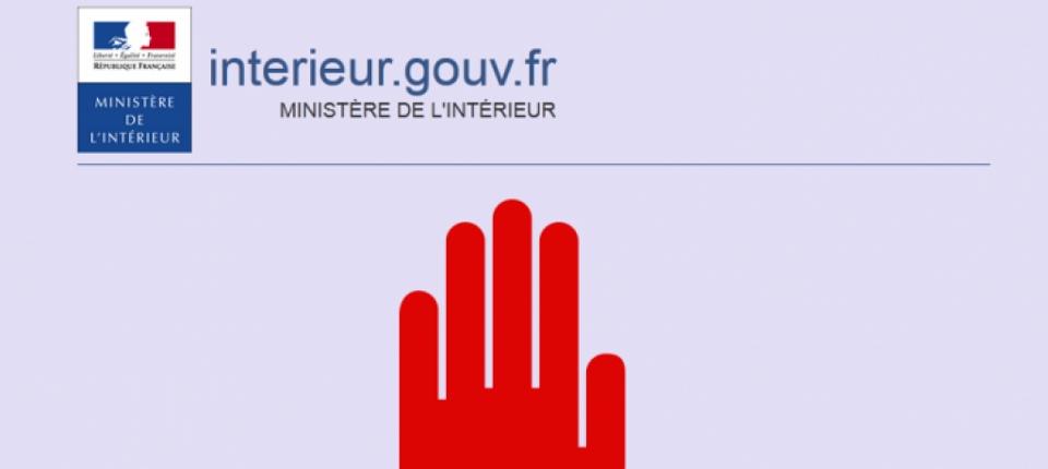 Capture d'écran du message de blocage d'un site se livrant à l'apologie du terrorisme