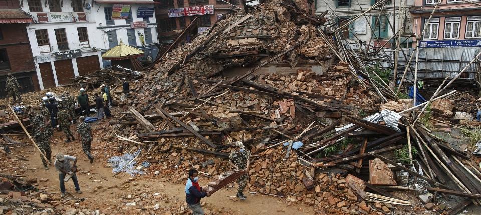 Photo des dommages causés par le séisme au Népal