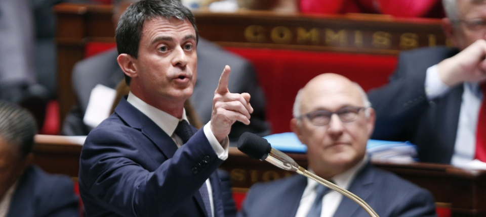 Photo de Manuel Valls à l'Assemblée nationale le 15 avril 2015