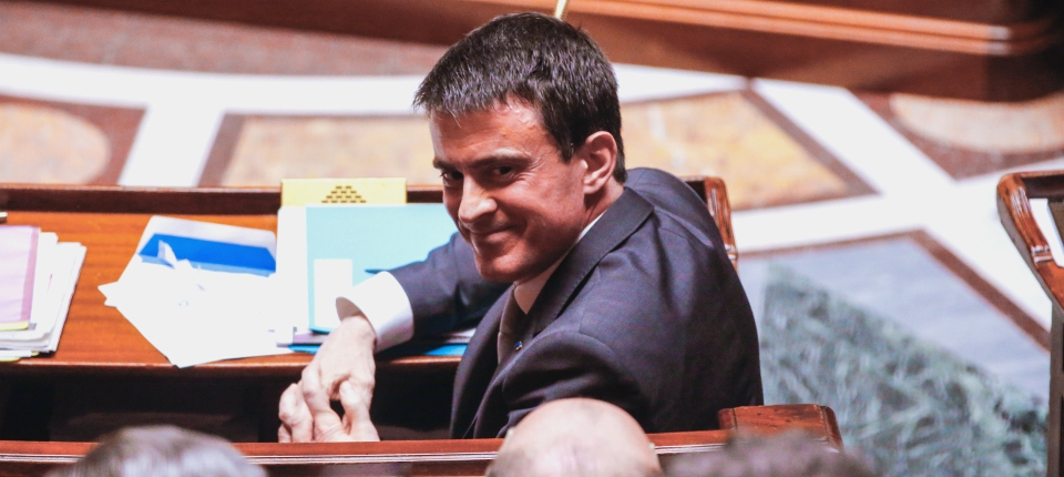 Photo de Manuel Valls à l'Assemblée nationale le 1er avril 2015.