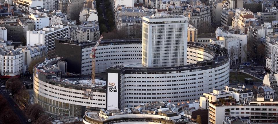 Vue aérienne de la maison de la radio à Paris.