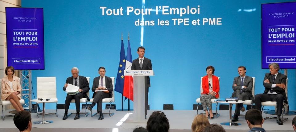 Photo de Manuel Valls le 9 juin 2015 lors de la conférence de presse Tout pour l'emploi à l'Elysée.