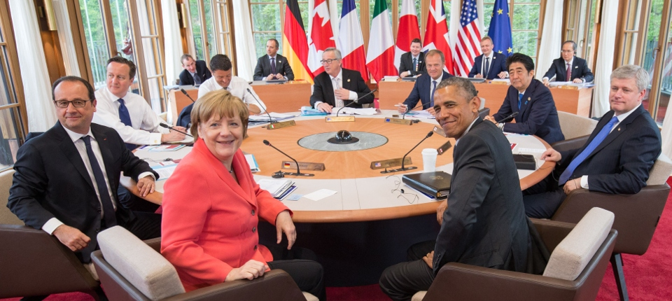 Photo des chefs d'États présents lors du G7, dans le château-hôtel bavarois d'Elmau, en Allemagne