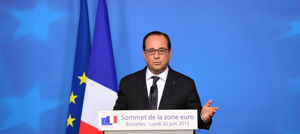 François Hollande lors de la réunion des chefs d'État ou de gouvernement de la Zone Euro du 22 juin 2015