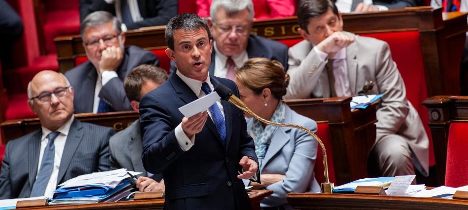 Photo de Manuel Valls à l'Assemblée nationale le 16 juin 2015