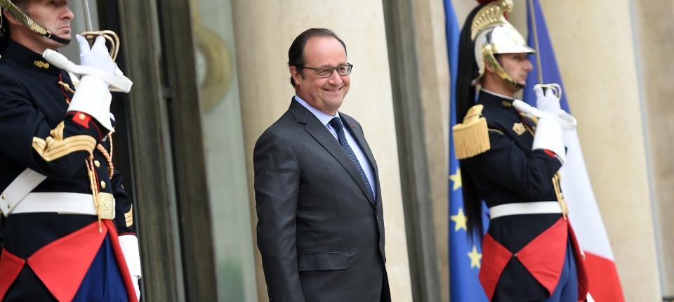 Photo du président de la République François Hollande sur le perron de l'Élysée