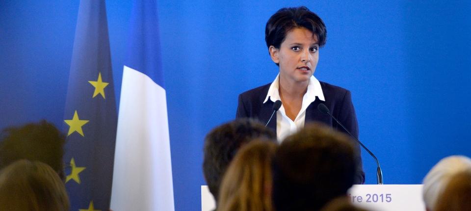 Photo de Najat Vallaud-Belkacem lors de sa conférence de presse pour la rentrée scolaire 2015 le 25 août.
