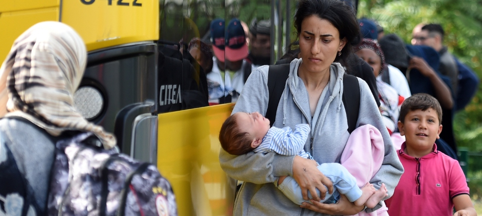 Photo de réfugiés arrivant à Berlin le 7 septembre 2015.