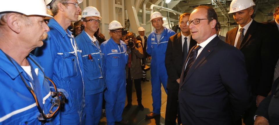 Visite de François Hollande aux chantiers de Saint-Nazaire