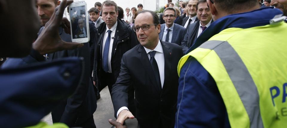 Photo du président François Hollande à la Courneuve le 20 octobre 2015