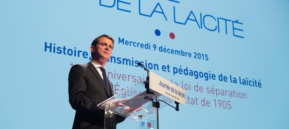 Photo de Manuel Valls à l'occasion de la journée nationale de la laïcité le 9 décembre 2015.