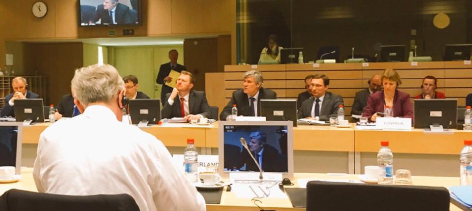 Stéphane le Foll au Conseil des ministres de l'Agriculture à Bruxelles
