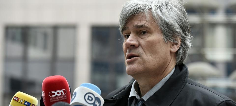 Stéphane le Foll au Conseil des ministres de l'Agriculture à Bruxelles, le 14 mars 2016