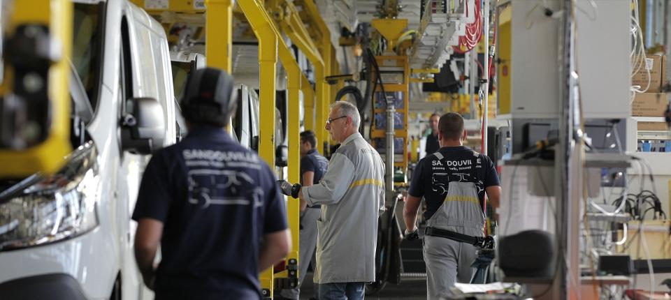 Chaîne montage de l'usine Renault de Sandouville