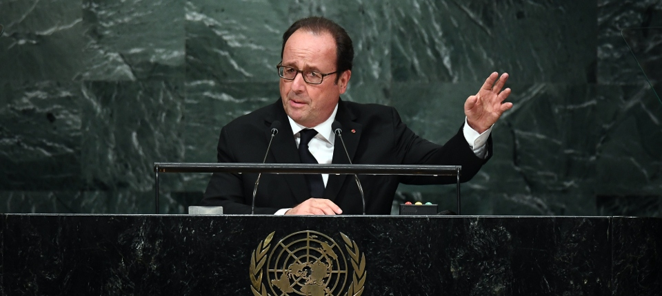 Photo du président François Hollande à la tribune de l'Assemblée générale des Nations-Unies le 20 septembre 2016
