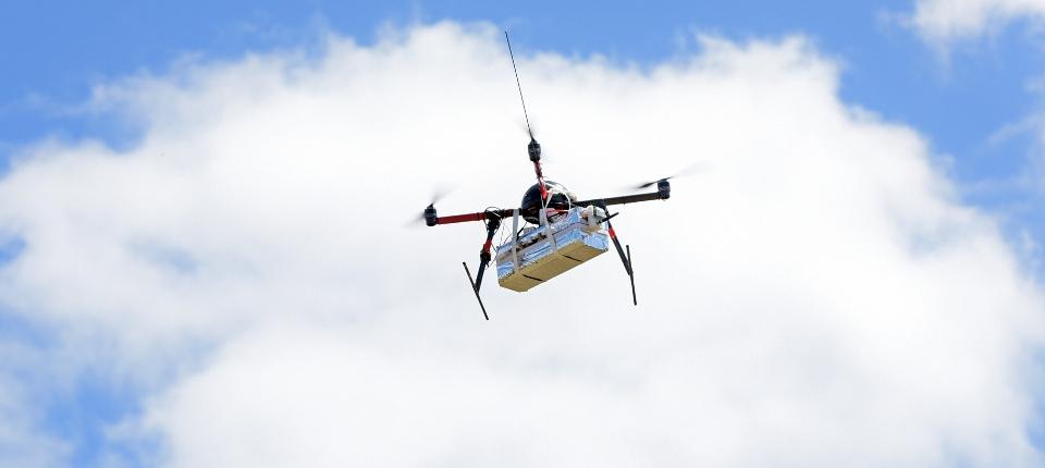 Vol d'un drone pour des relevés atmosphériques