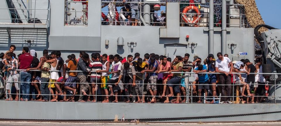 Migrants sur un bateau