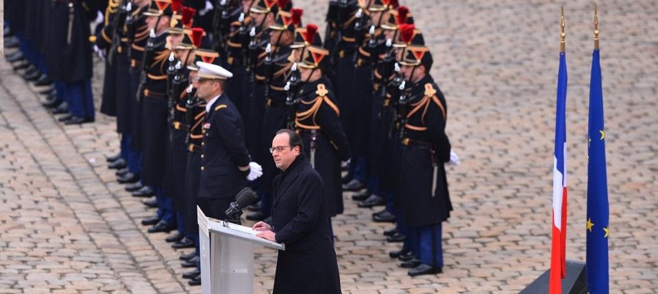 Le président de la République François Hollande pendant l'hommage national