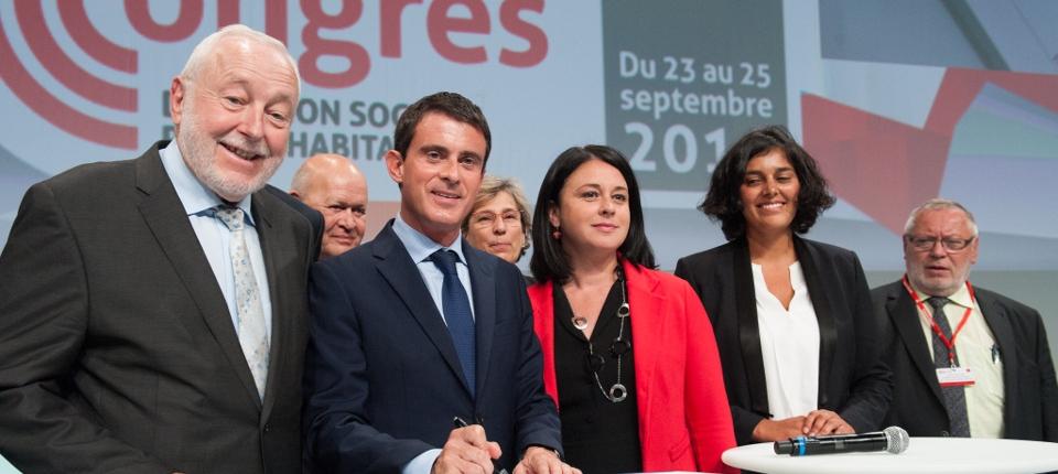 Photo de Manuel Valls, Sylvia Pinel et Myriam El Khomri au  75e Congrès de l'USH à Lyon