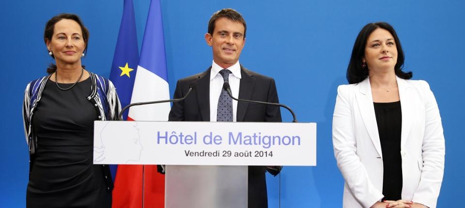 Ségolène Royal, Manuel Valls et Sylvia Pinel lors de la conférence de presse de présentation du plan de relance du logement le 29 août 2014