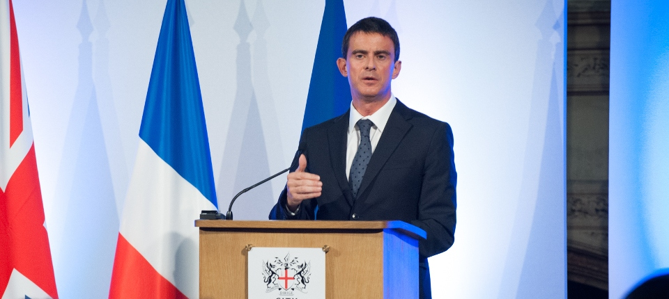 Photo de Manuel Valls lors d'un discours à la City de Londres