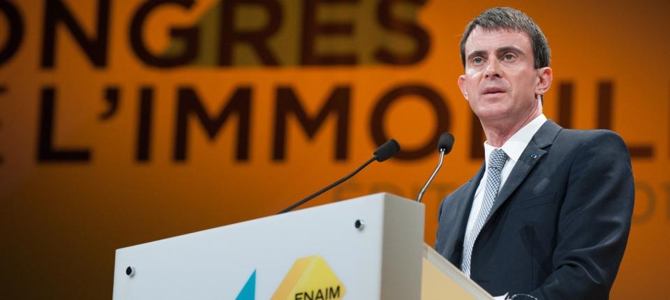 Portrait de Manuel Valls au congrès de la Fédération Nationale de l'Immobilier (FNAIM)