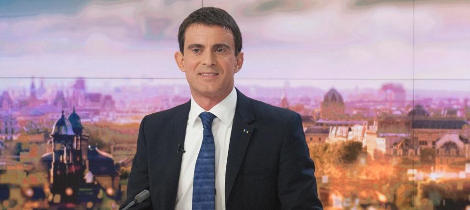 Photo de Manuel Valls sur le plateau de France 2