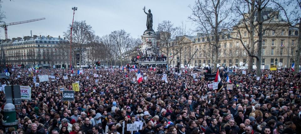 Photo de la foule dimanche 11 janvier 2015 place de la République.