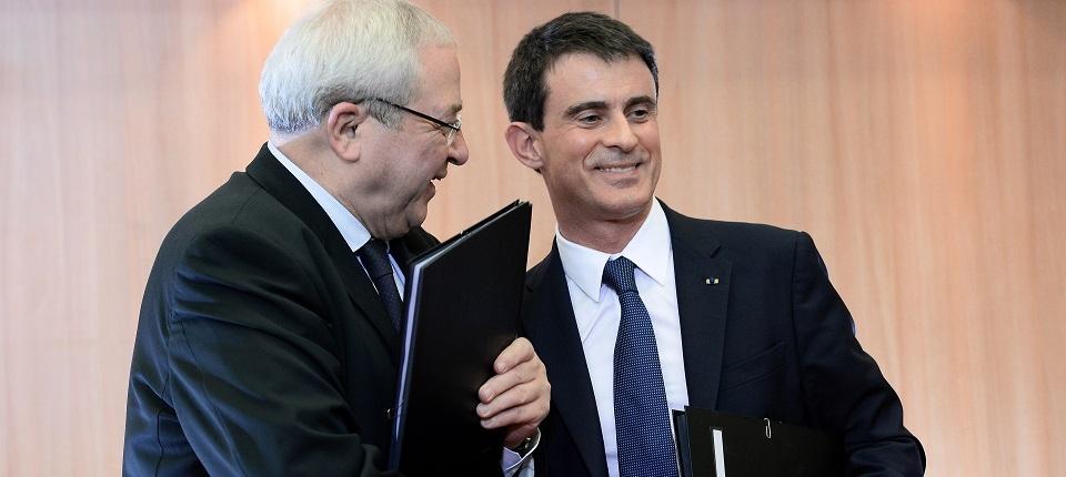 Jean-Paul Huchon et Manuel Valls lors de la signature du CPER Ile-de-France