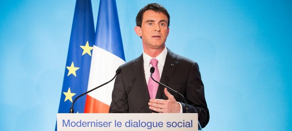 Manuel Valls lors de la conférence de presse sur le dialogue social