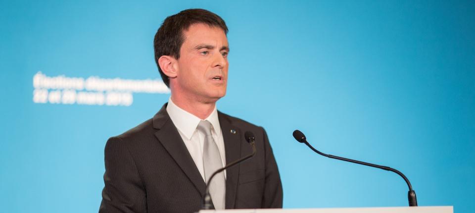 Manuel Valls à Matignon le 22 mars 2015