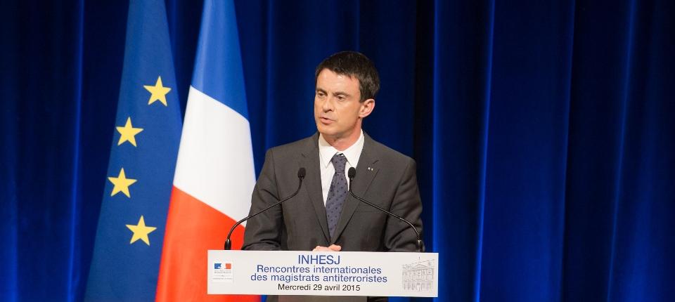 Photo de Manuel Valls le 29 avril 2015 devant les magistrats antiterroristes.
