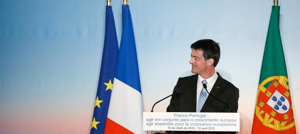 Manuel Valls à Lisbonne le 10 avril 2015 lors de son discours aus forces économiques