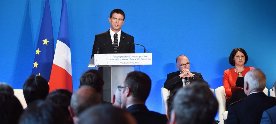 Manuel Valls, Bernard Cazeneuve et Sylvia Pinel lors du comité interministériel de Marseille