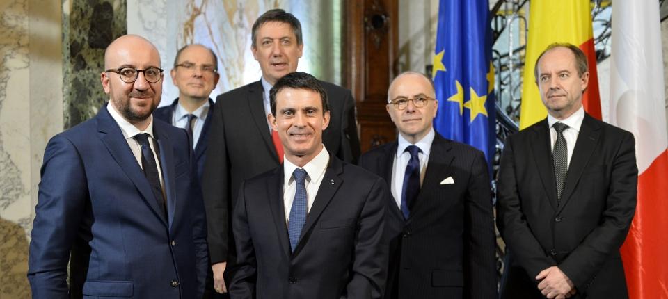 Charles Michel, Manuel Valls et les ministres belges et français de l'Intérieur et de la Justice