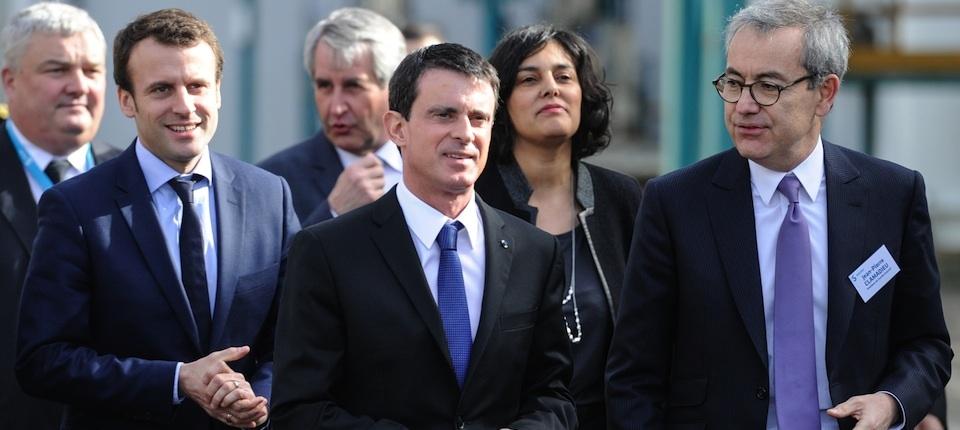 Manuel Valls visite l'usine Solvay de Chalampé, accompagé de Myriam El Khomri et d'Emmanuel Macron