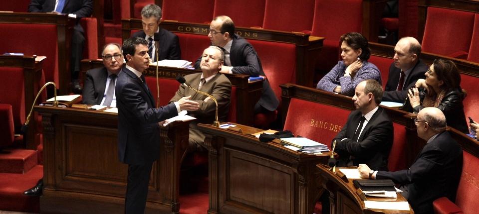 Photo de Manuel Valls à l'Assemblée nationale le 5 février 2016.