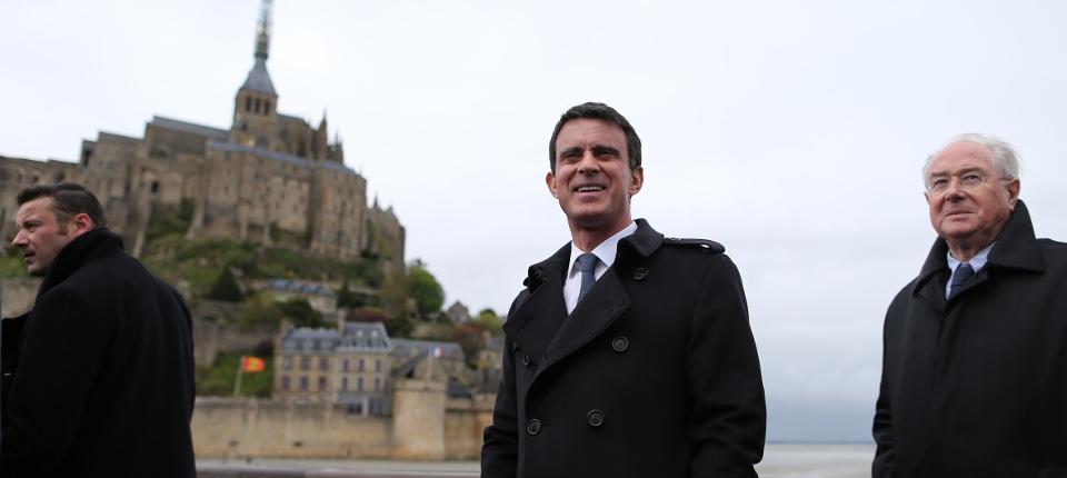 Manuel Valls en déplacement au Mont-Saint-Michel, le 25 avril 2016