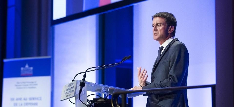 Manuel Valls lors du 110e anniversaire du SGDSN