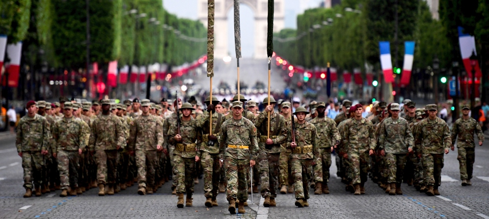Soldats américains pour le défilé du 14 juillet 2017