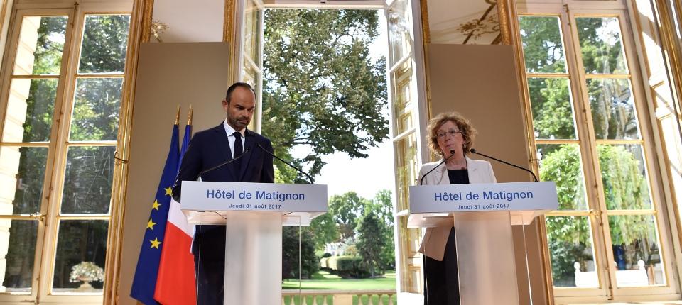Le Premier ministre et Muriel Pénicaud lors de la Conférence de presse, le 31 août 2017