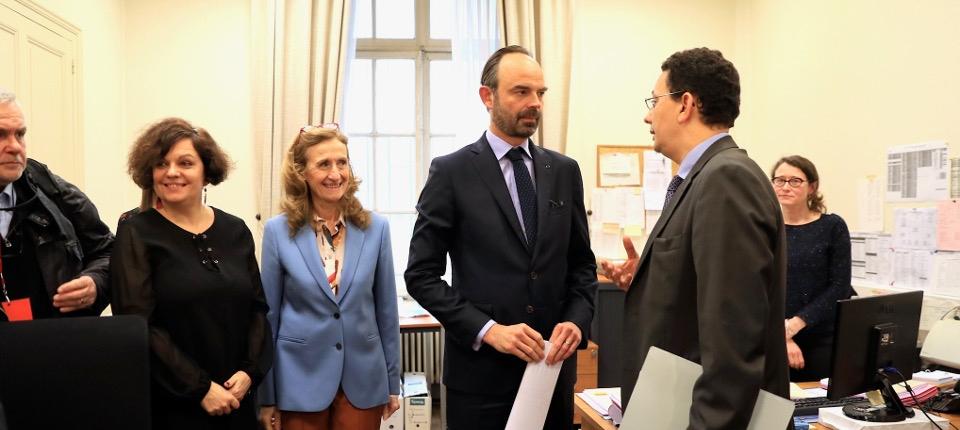 Édouard Philippe et Nicole Belloubet au tribunal de Reims, le 9 mars 2018