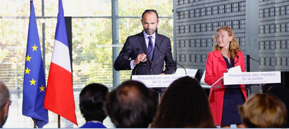 Édouard Philippe et Nicole Belloubet présentent les chantiers de la justice