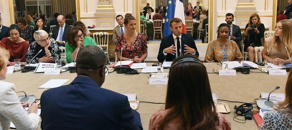 Réunion préparatoire du G7 avec le président de la République et Marlène Schiappa