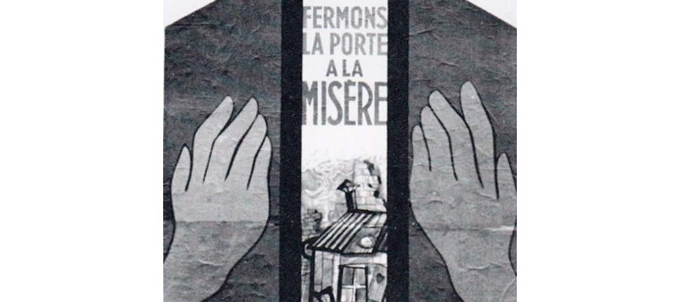 """Affiche de 1945 """"Fermons la porte à la misère"""""""