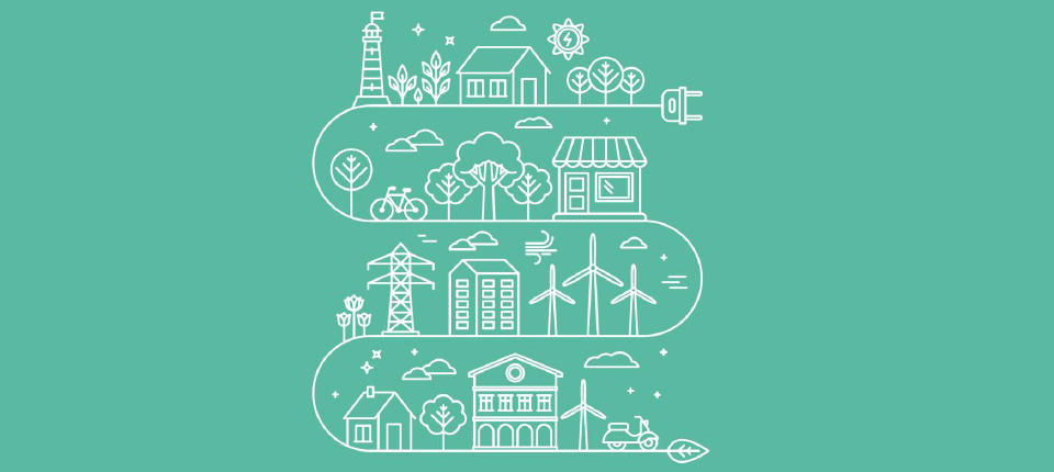 Illustration du budget vert avec industries, logements...